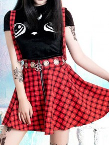 Red-Black Plaid Cut Out High Waisted Coachella Outfits Skater Tutu Overall Short Skirt