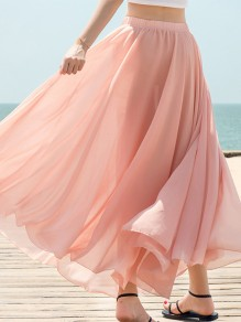 Pink-Coffee Draped Chiffon Flowy High Waisted Elegant Going out Skirt