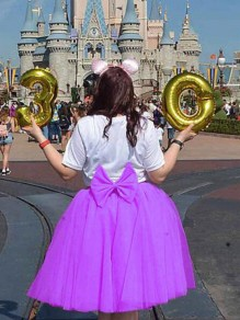 Purple Grenadine Bowknot High Waisted Skater Tutu Homecoming Bridesmaid Party Skirt