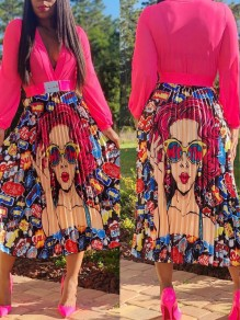 Red Cartoon Pattern Pleated High Waisted Party Long Skirt