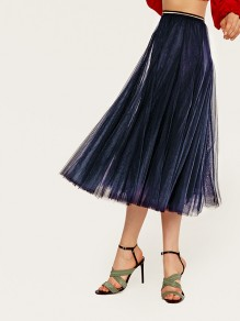 Navy Blue Pleated Elastic Waist Grenadine Fluffy Puffy Tulle Elegant Homecoming Party Skirt