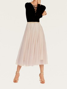 Beige Pleated Elastic Waist Grenadine Fluffy Puffy Tulle Elegant Homecoming Party Skirt