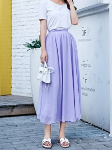Violet Pleated High Waisted Layers Of Grenadine Fluffy Puffy Tulle Elegant Skirt