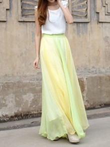 Yellow-Green Patchwork Pleated High Waisted Grenadine Ruffle Fluffy Puffy Tulle Elegant Skirt
