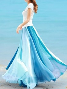 Blue Patchwork Pleated High Waisted Grenadine Ruffle Fluffy Puffy Tulle Elegant Skirt