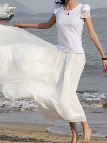 White Pleated High Waisted Grenadine Ruffle Fluffy Puffy Tulle Beach Vacation Skirt