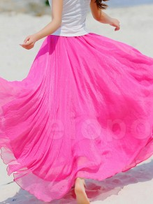 Rose Carmine Pleated High Waisted Grenadine Ruffle Fluffy Puffy Tulle Beach Vacation Skirt