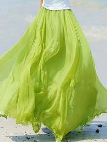 Emerald Green Pleated High Waisted Grenadine Ruffle Fluffy Puffy Tulle Beach Vacation Skirt
