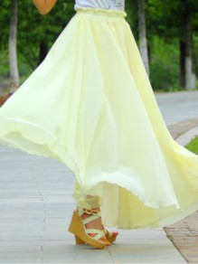 Light Yellow Pleated High Waisted Grenadine Ruffle Fluffy Puffy Tulle Sweet Skirt