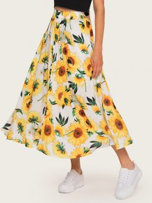 Yellow Sunflower Floral Print High Waisted Bohemian Fashion Long Skater Skirt