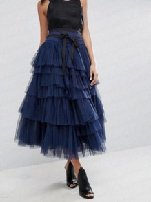 Royal Blue Pleated Grenadine Cascading Ruffle High Waisted Homecoming Party Long Tulle Tutu Cake Skirt