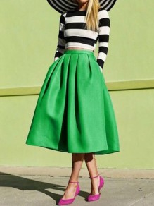 Green Pockets Pleated Tutu High Waisted Elegant Skirt
