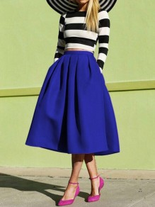 Dark Blue Pockets Pleated Tutu High Waisted Elegant Skirt