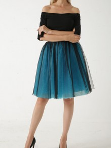 Dark Blue Layers Of Grenadine Fluffy Puffy Tulle Chiffon Homecoming Party Short Princess Skirt