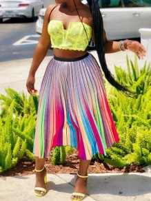 Purple Rainbow Striped Pleated High Waisted Bronzing Sparkly Long Skirt