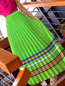 Green Striped Pleated High Waisted Party Long Skirt