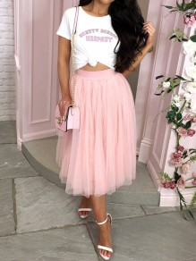 Pink Grenadine Draped Fluffy Puffy Tulle High Waisted Elegant Skirt