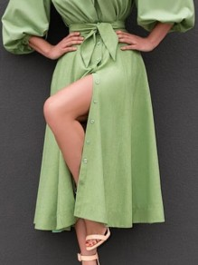 Green Single Breasted Sashes Pockets High Waisted Elegant Skirt