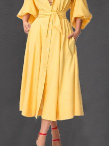 Yellow Single Breasted Sashes Pockets High Waisted Elegant Skirt
