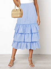 Blue Striped Ruffle High Waisted Elegant Long Skirt
