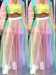 Pink Rainbow Striped Grenadine Tie Dye High Waisted Sheer Bohemian Long Skirt