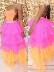 Rose Carmine Patchwork Grenadine Cascading Ruffle High Waisted Homecoming Party Long Skirt