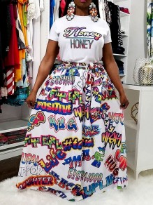 White Letter Pleated High Waisted Party Long Skirt