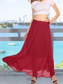 Wine Red Patchwork High Waisted Bohemian Chiffon Long Skirt