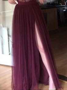 Burgundy Draped Side Slit Fluffy Puffy Tulle High Waisted Elegant Skirt
