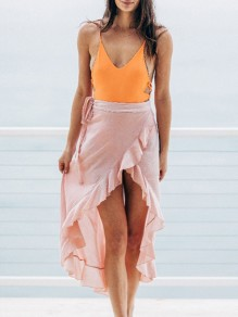 Pink Ruffle High-Low Irregular Flowy Women Summer Casual Beach Skirt