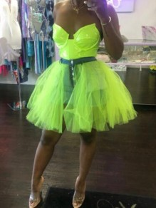 Green Patchwork Grenadine Single Breasted High Waisted Skater Tutu Homecoming Short Skirt