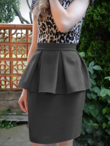 Black Ruffle High Waisted Bodycon Elegant Party Skirt