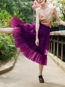 Purple Grenadine Fluffy Puffy Tulle High Waisted Party Skirt