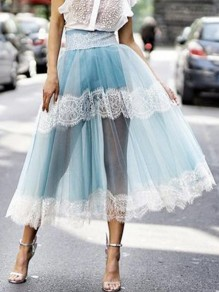 Blue Patchwork Grenadine Lace High Waisted Fluffy Puffy Tulle Party Long Skirt