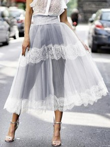 Light Grey Patchwork Grenadine Lace High Waisted Fluffy Puffy Tulle Party Long Skirt