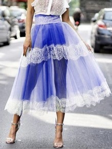 Sapphire Blue Patchwork Grenadine Lace High Waisted Fluffy Puffy Tulle Party Long Skirt