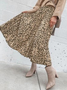 Khaki Leopard Print Pleated Elastic Waist Fashion Flowy Midi Skirt