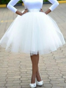 White Grenadine High Waisted Fluffy Puffy Skater Wedding Gowns Homecoming Bridesmaid Party Skirt