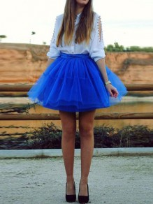 Royal Blue Grenadine Cascading Ruffle High Waisted Plus Size Skater Tutu NYE Party Skirt