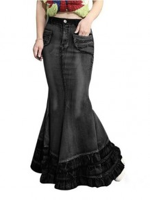 Black Cascading Ruffle Pockets High Waisted Mermaid Distressed Denim Long Skirt