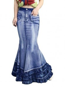 Blue Cascading Ruffle Pockets High Waisted Mermaid Distressed Denim Long Skirt