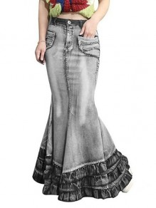 Grey Cascading Ruffle Pockets High Waisted Mermaid Distressed Denim Long Skirt