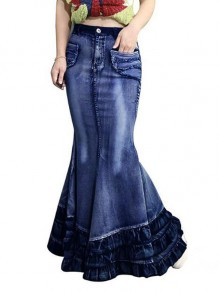Dark Blue Cascading Ruffle Pockets High Waisted Mermaid Distressed Denim Long Skirt