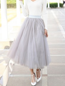 Light Grey Grenadine Pleated High Waisted Elegant Tulle Tutu Skirt