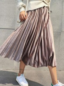 Champagne Pleated High Waisted Elastic Waist Elegant Skirt