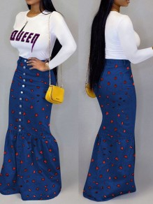 Blue Love Print Buttons Bodycon Mermaid Denim Long Skirt