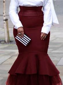 Burgundy Grenadine Cascading Ruffle Bodycon Mermaid Plus Size Party Prom Maxi Skirt
