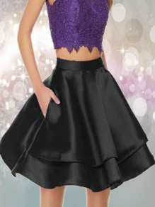 Black Pleated Pockets High Waisted Tutu Homecoming Party Skirt