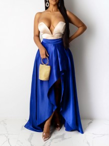 Sapphire Blue Pleated Irregular High-Low Party Long Skirt