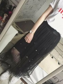 Black Patchwork Grenadine Pleated Pearl Party Long Skirt